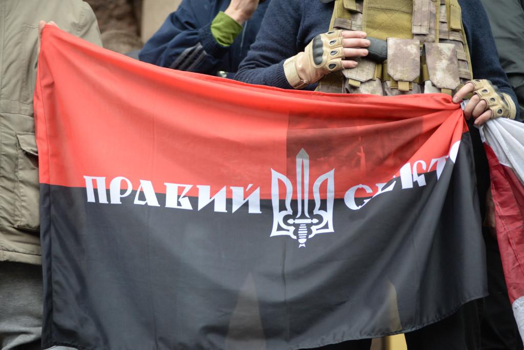 Pravyi Sektor(Roght Sector) flag. Euromaidan, Kyiv, Ukraine. Events of February 22, 2014.