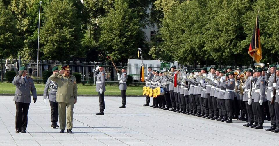 General Raheel Sharif while receivig guard of honor in Germany, while on his visit to the country [Photo by ISPR]