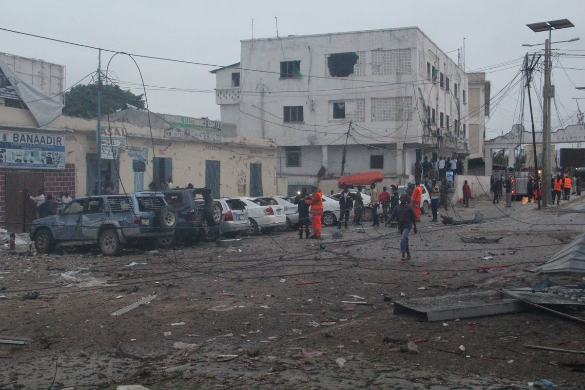 The street near Nasa-hablod 1 hotel was filled with debris and blood. (Photo: Goobjoog)