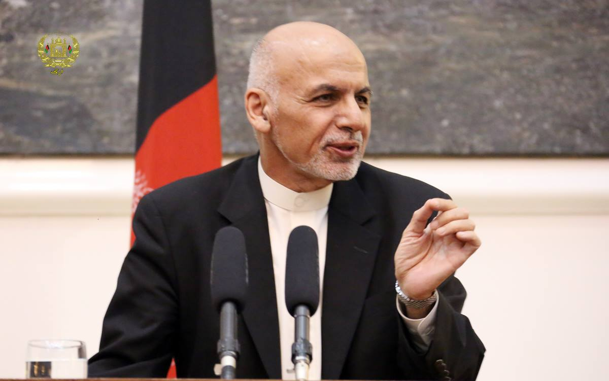 Afghan President Ashraf Ghani Talking to a press conference [ARG Presidential Palace Photo]