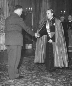 Alojzije Stepinac (right) with the leader of Ustasha regime Ante pavelic (Image Public Domain)