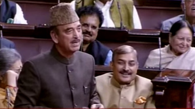 Ghulam Nabi Azad, the Kashmiri leader, addresses Rajya Sabha Or the Council of States is the upper house of the Parliament of India [Video photo]