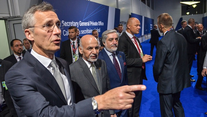 NATO Secretary General, Jens Stoltenberg, Afghan President Ashraf Ghani, and CEO Abdullah Abdullah [Photo by NATO]