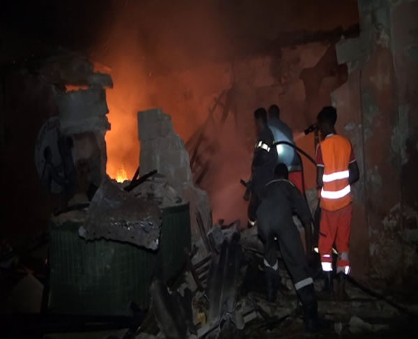 Somali Firefighters worked to put out the flames of the blast (Photo: State Media).