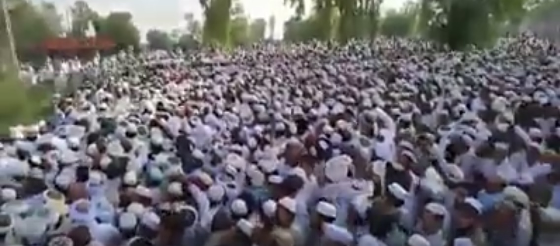 Mourning gathering of the Afghan religious leader killed in Peshawar [Photo from the video released to social media]