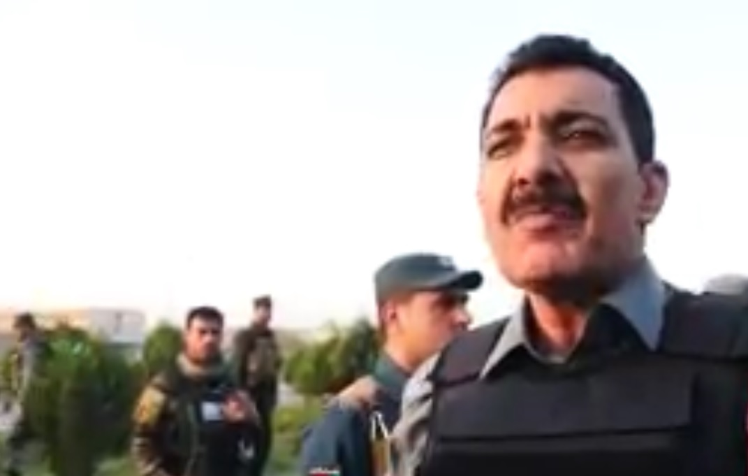 Rahman Rahimi, the Kabul Police Chief while talking to media [Photo from TOLO News Video]