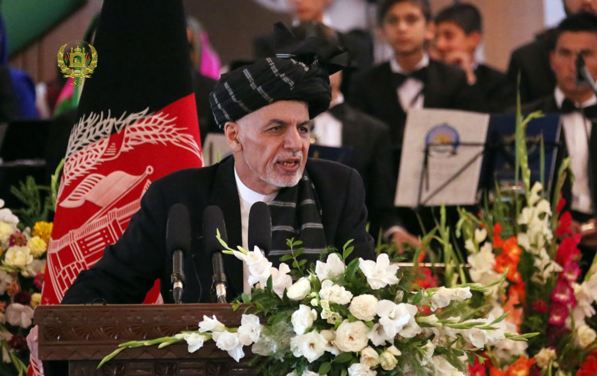 Afghan President Ashraf Ghani, while speaking to the Independence Day gathering [Photo by Presidential Palace]