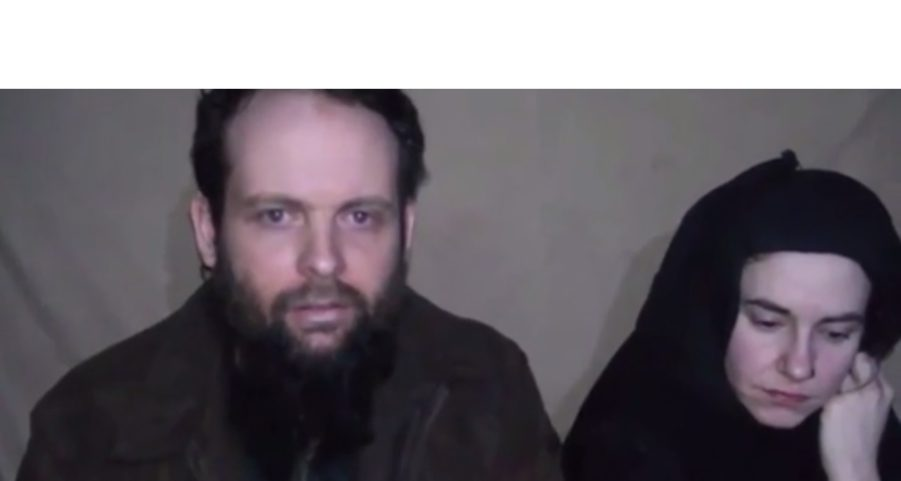 Joshua Boyle a Canadian citizen (Right) and his wife, Caitlan Coleman an American (Left) [Photo from the released video]