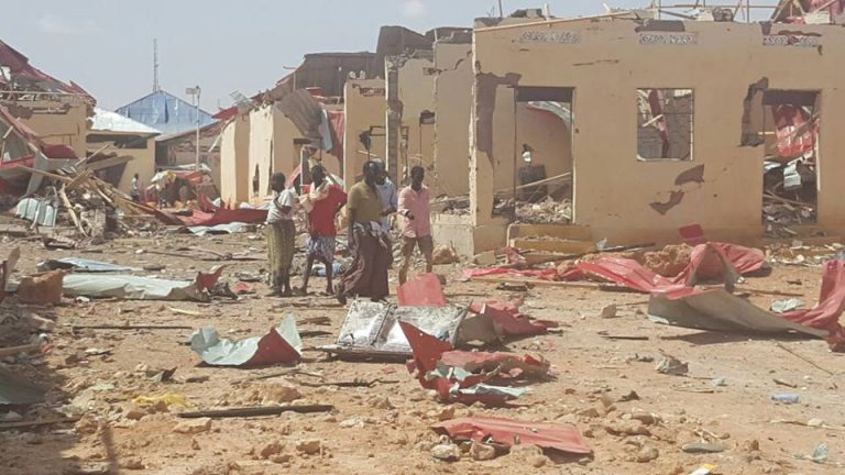 Photographic images taken from the site of blasts reflect gruesome scenes, with severed bodies lying on the ground (Photo: Horseed)
