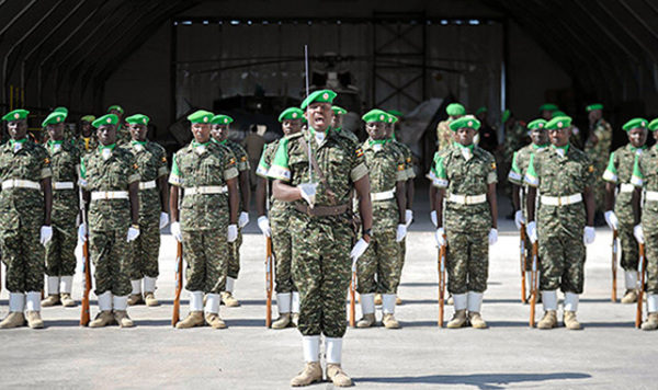 African Union troops at a ceremony in Mogadishu: The politics of troop-contributing nations could imperil their mission. (Photo/AMISOM/FB).