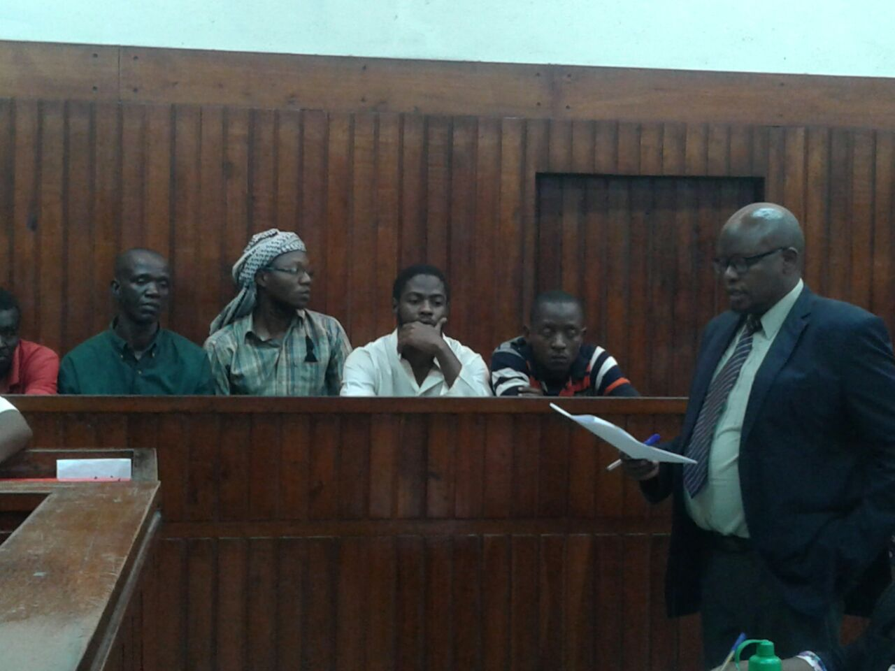 The four terror suspects who were arraigned in a Kenyan court in the coastal city of Mombasa over links with the Al Shabab and the Islamic State militant groups (Image by Richard Mbaya/ArmedPolitics)