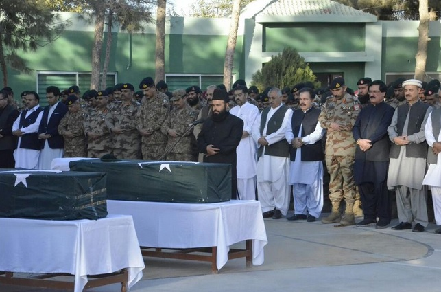 Frontier Corps officials and elected members from the assembly part of the funeral prayer of the FC personnel (Photo by FC)